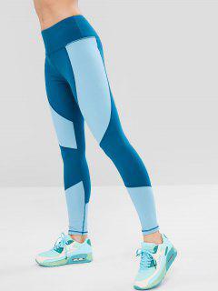 Farbblock Breite Bund Gym Leggings - Seiden Blau S