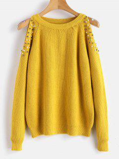 Faux Pearl Cold Shoulder Sweater - Bright Yellow