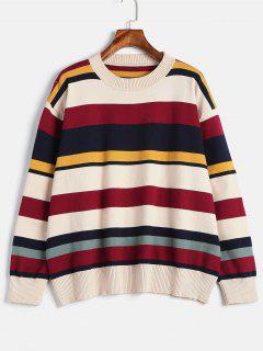 Crewneck Oversized Striped Sweater - Multi