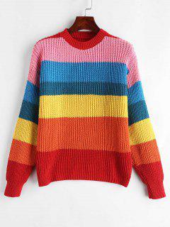 Pullover Striped Colorful Sweater - Multi