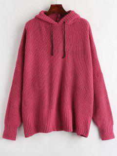 Baggy Hooded Oversized Sweater - Rose Red