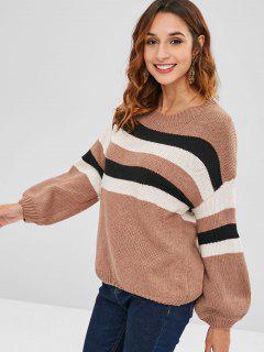 Three Tone Striped Loose Sweater - Multi
