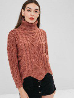 Turtleneck Scalloped Cable Knit Sweater - Orange Salmon