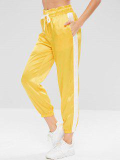 Satin Contrast Jogger Sweat Pants - Yellow M