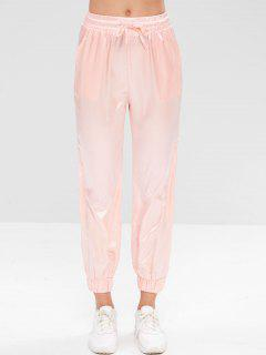 Satin Drawstring Athletic Jogger Pants - Pink L