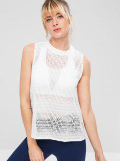 ZAFUL Sports Airy Openwork Tank Top - White S