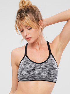 Heather Racerback Perforated Sports Bra - Dark Gray M