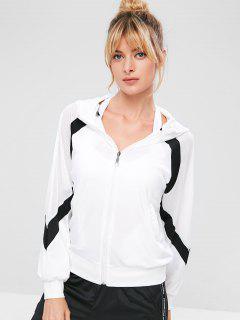 Mesh Insert Raglan Sleeve Zipper Jacket - White M
