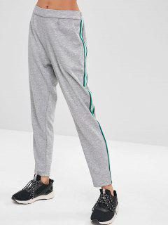 ZAFUL Stripes Straight Sports Pants - Light Gray M