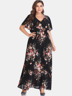 Vestido Largo Floral Con Volantes Y Volantes - Negro 4x