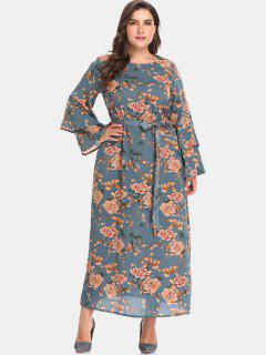 Floral Bell Sleeve Plus Size Maxi Dress - Peacock Blue 5x