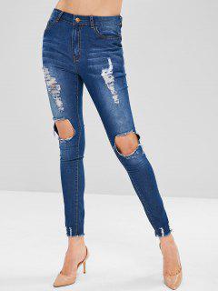 ZAFUL Frayed Destroyed Skinny Jeans - Denim Dark Blue S