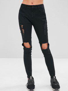 ZAFUL Frayed Destroyed Skinny Jeans - Black L