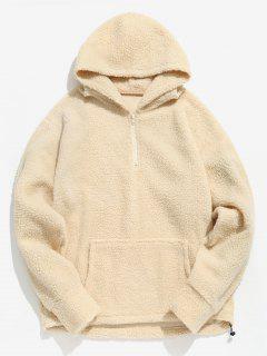 Half Zip Fluffy Faux Fur Pullover Hoodie - Cornsilk L