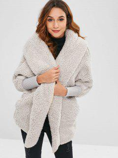Oversized Fluffy Teddy Winter Coat - Light Gray