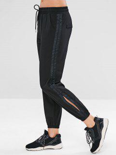 Drawstring Slit Jogger Pants - Black M