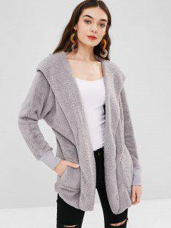 Solid Color Hooded Fluffy Teddy Coat - Light Gray L