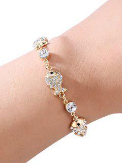 Pulsera De Cadena Con Diseño De Peces De Diamantes De Imitación - Oro