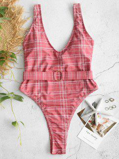 ZAFUL Plaid Belted High Leg Swimsuit - Light Coral S