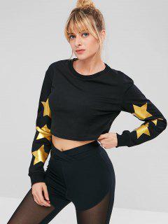 ZAFUL Star Crop Sweatshirt - Black S