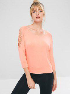 Camiseta Atlética De Hombro Frío En Lattice - Rosa Naranja M