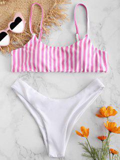 ZAFUL Striped Cami Padded Bikini Set - Hot Pink S