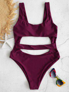 ZAFUL Cutout High Leg Swimsuit - Maroon M