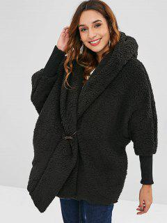 Oversized Fluffy Teddy Winter Coat - Black