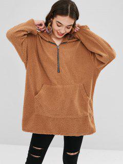 Faux Shearling Half-zip Oversized Hoodie - Camel Brown L