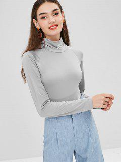Turtleneck Snap-button At The Gusset Bodysuit - Light Gray S