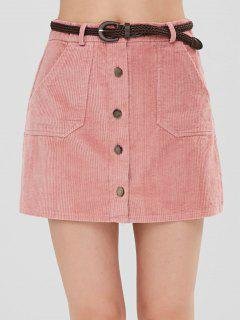 Button Up Corduroy Belted Skirt - Pink L