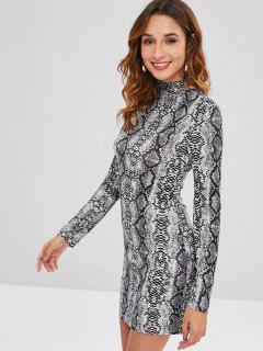 ZAFUL Snakeskin Print Mini Fitted Dress - Multi L
