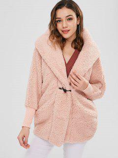 Oversized Fluffy Teddy Winter Coat - Orange Pink
