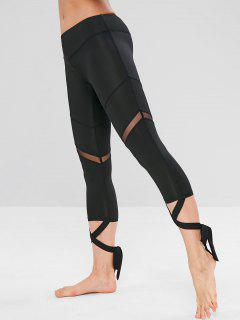 Sports Mesh Panel Cross Tied Crop Leggings - Black S
