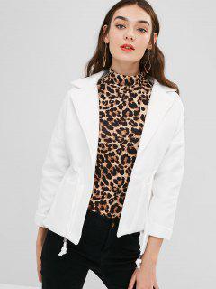 Manteau Avec Poches En Fausse Laine à Col Revers - Blanc L