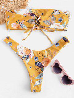 ZAFUL Floral Bandeau Lace-up Bikini Set - Orange Gold M