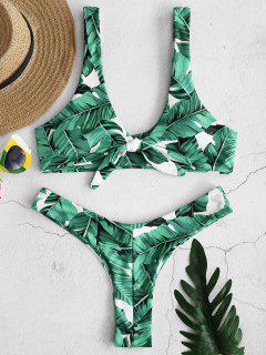 ZAFUL Palm Gebundenes Bikini Set - Weiß L