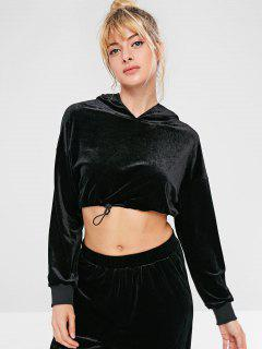 ZAFUL Velvet Drop Shoulder Crop Hoodie - Black S