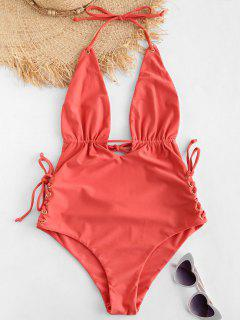 ZAFUL Lace-up Low Back Halter Swimsuit - Light Coral L