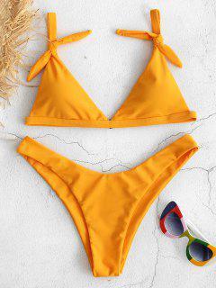 ZAFUL Padded High Leg Knotted Bikini Set - Bright Yellow M