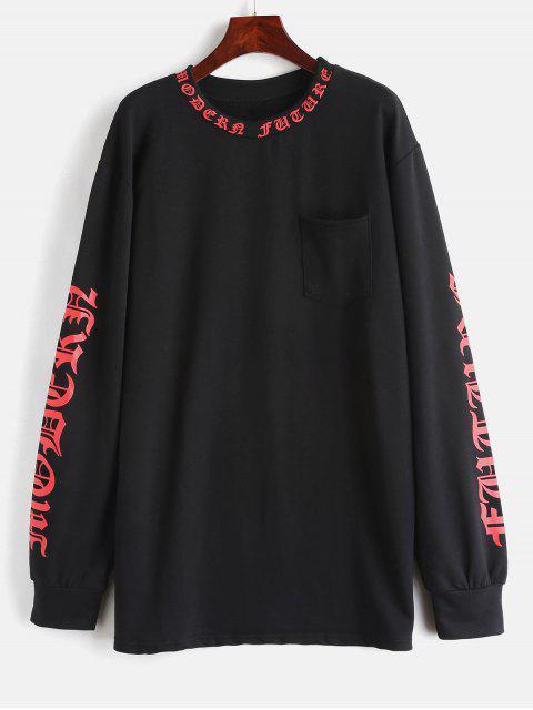 Fronttasche Graphic Sweatshirt - Schwarz Eine Größe Mobile