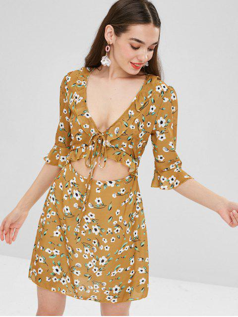 sale Floral Ruffles Cut Out Mini Dress - MUSTARD M Mobile