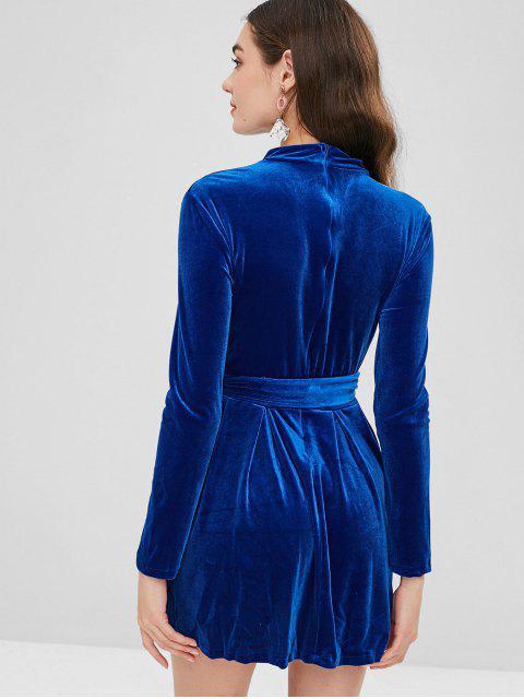 new Long Sleeve Choker Velvet A Line Dress - PURPLISH BLUE S Mobile