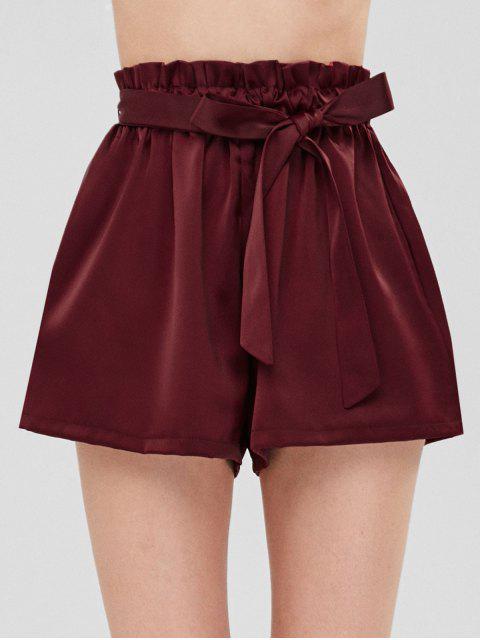 Short Taille Haute Smocké à Ceinture - Rouge vineux  Taille Unique Mobile