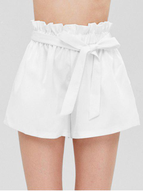 women's Smocked Belted High Waisted Shorts - WHITE ONE SIZE Mobile