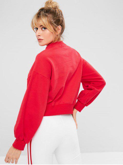 Sport Drop Shoulder Kurzes Sweatshirt - Rot S Mobile