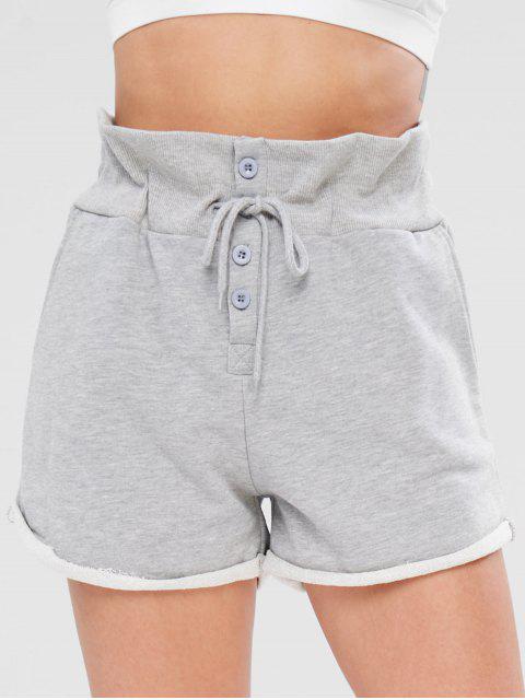 Pantalones cortos con cordón deportivo sin dobladillo - Gris S Mobile