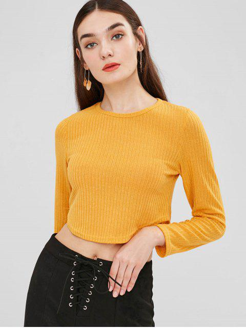 affordable Curved Hem Cropped Knitwear - RUBBER DUCKY YELLOW XL Mobile