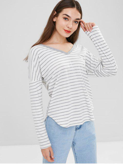 sale Hooded Striped Top - WHITE L Mobile