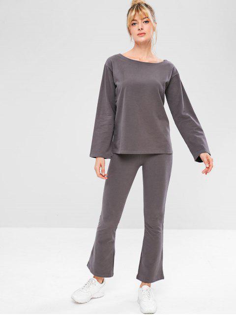 Ensemble de Sweat-shirt de Sport et de Pantalon de Cloche - Gris Foncé L Mobile